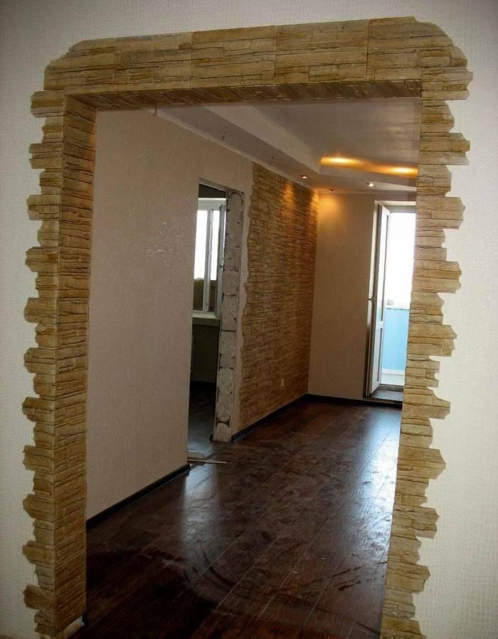 Оформляем дверной проём декоративным камнем