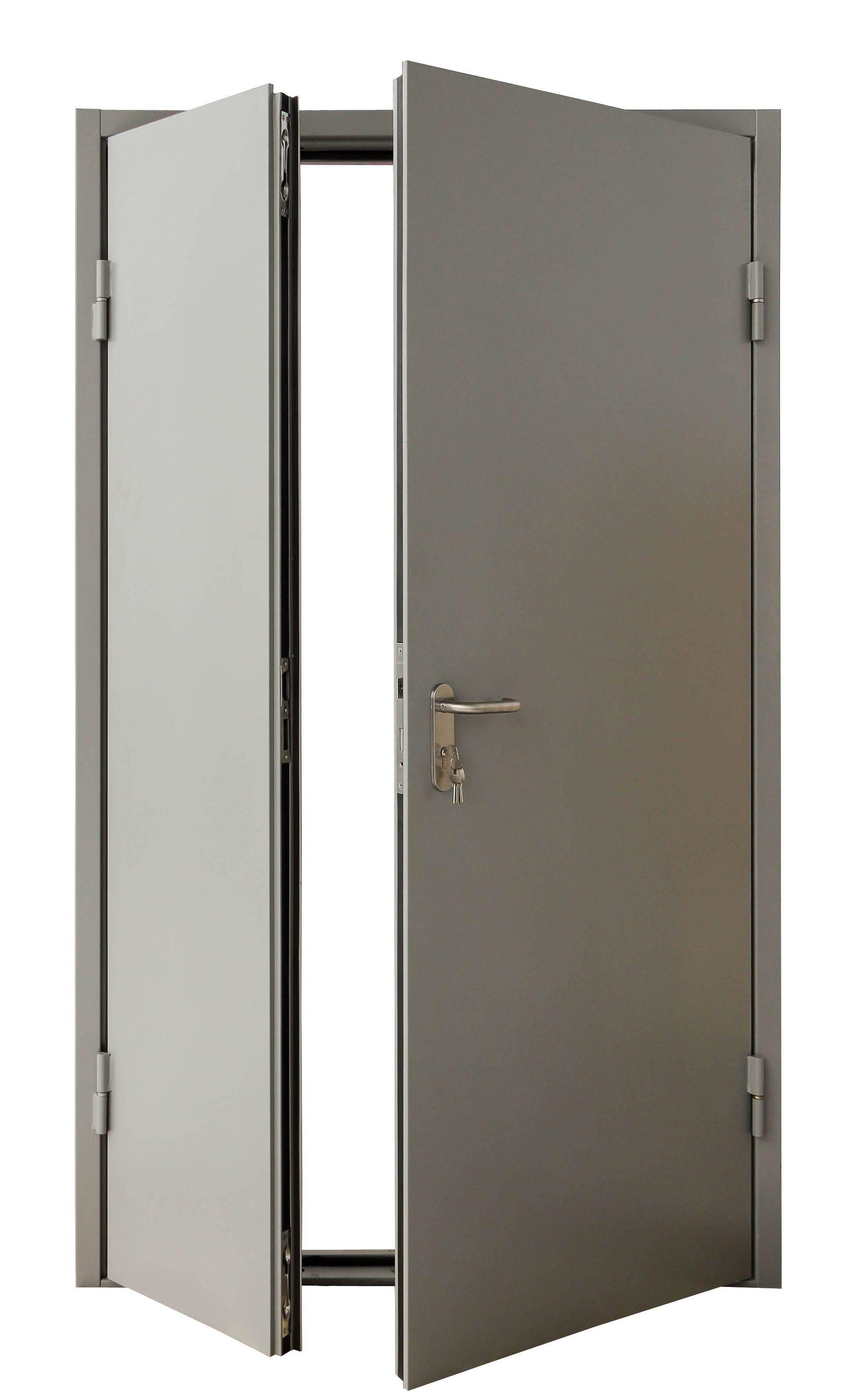 Противопожарные металлические двухстворчатые двери