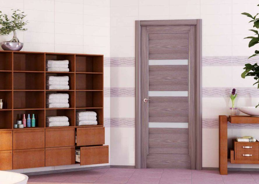 Серые шпонированные двери