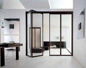 Складные двери из стекла