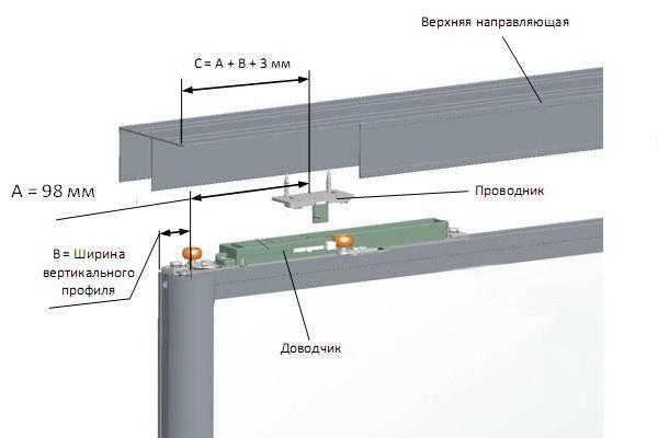Схема монтажа доводчика на