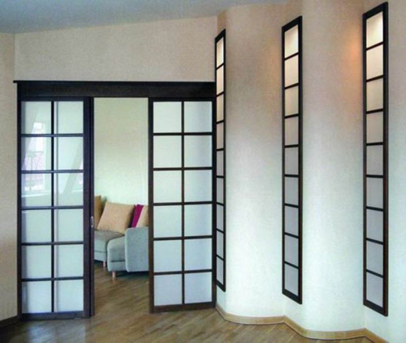 Выдвижные стеклянные межкомнатные двери