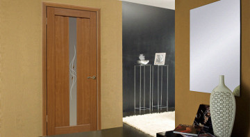 Ореховые двери со стеклом в интерьере